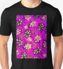 STYLIZED FLOWERS ,BLACK WHITE RIBBONS IN PURPLE  Antique Japanese Floral Unisex T-Shirt
