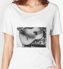 Street guitarist plays classical guitar black and white photo Women's Relaxed Fit T-Shirt