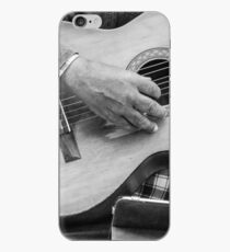 Street guitarist plays classical guitar black and white photo iPhone Case