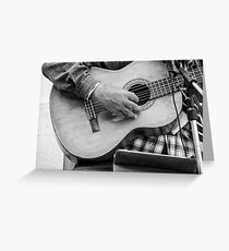 Street guitarist plays classical guitar black and white photo Greeting Card