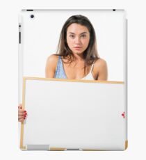 Young model hold a blank whiteboard ready for your text  iPad Case/Skin