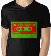Psychedelic Mix Tape - Red and Green Men's V-Neck T-Shirt