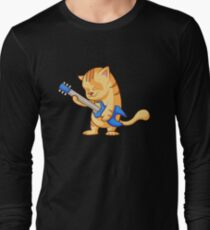 Funny Guitar Cat Electric Guitarist Gift Long Sleeve T-Shirt