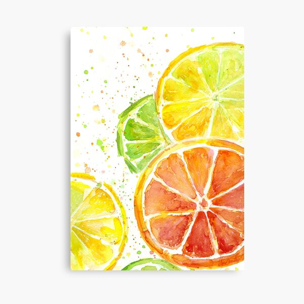 Juicy Citrus Fruit Watercolor, Food Painting, Tasty Art Canvas Print