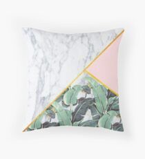 Marble/Banana Leaves/Pink Throw Pillow