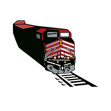 Diesel Locomotive Freight Train  Retro by retrovectors