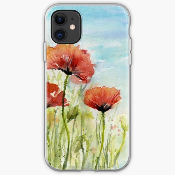 Red Poppy Watercolor iPhone Soft Case