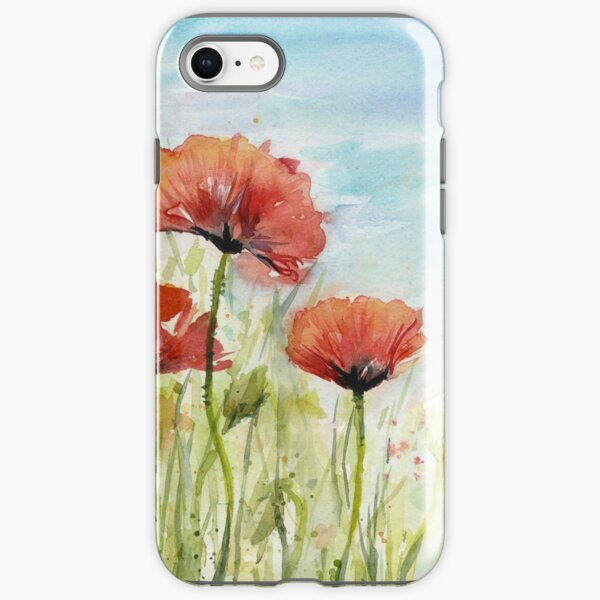 Red Poppy Watercolor iPhone Tough Case