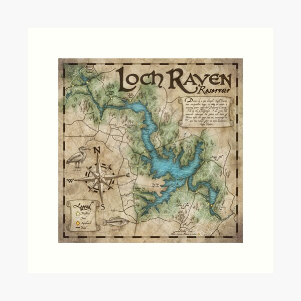 Loch Raven Reservoir Hiking Trail Map - Antique Cartography Art Print