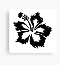 Black & White Hawaiian Hibiscus Flower Canvas Print