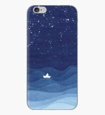 blue ocean waves, sailboat ocean stars iPhone Case