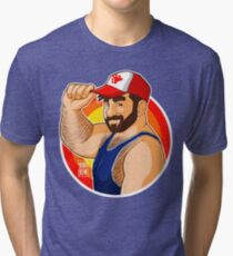 ADAM LIKES BASEBALL CAPS - TARGET Tri-blend T-Shirt