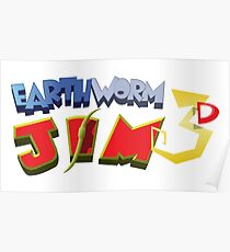 Earthworm Jim 3D Poster