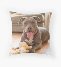 Happy pibble Throw Pillow