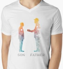 Vintage Father And Son Funny Father's Day T-shirts Men's V-Neck T-Shirt