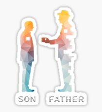 Vintage Father And Son Funny Father's Day T-shirts Sticker