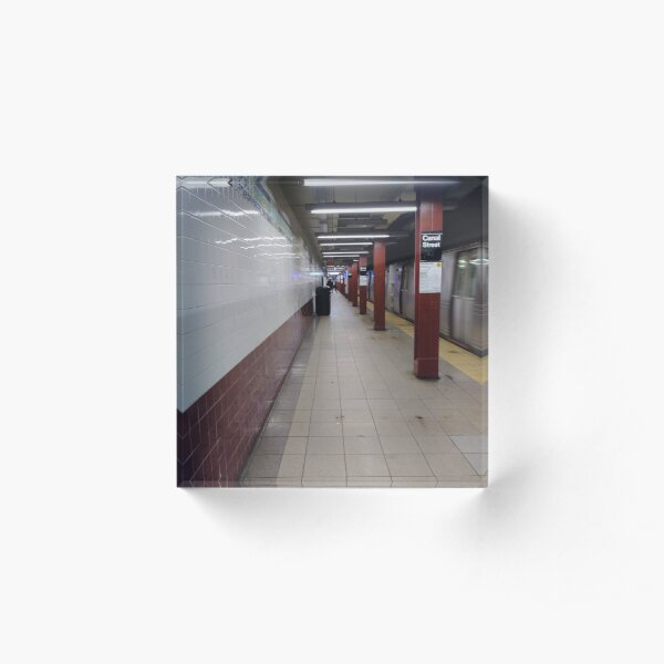Metro station, #MetroStation, Manhattan, #Manhattan, New York, #NewYork, NYC, #NYC, New York City, #NewYorkCity Acrylic Block