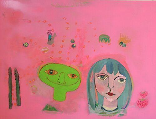 Alice in Wonderland and Dad in the Garden by Rina Miriam  Drescher