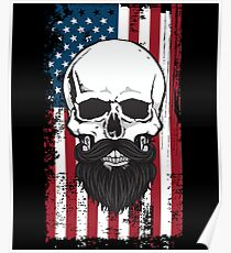 Bearded Skull US Flag Independence Day July 4th Poster