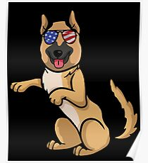 German Shepherd Independence Day 4th of July Poster