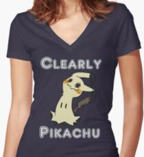 Clearly Pikachu - Mimikyu Women's Fitted V-Neck T-Shirt