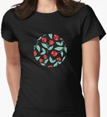 Winter Berry Floral Women's Fitted T-Shirt