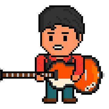 Rock Battle Pixel British Bass Guitar Genius by gkillerb