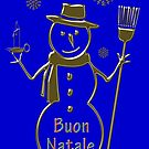 Gold Snowman Italian Merry Christmas Buon Natale by David Dehner