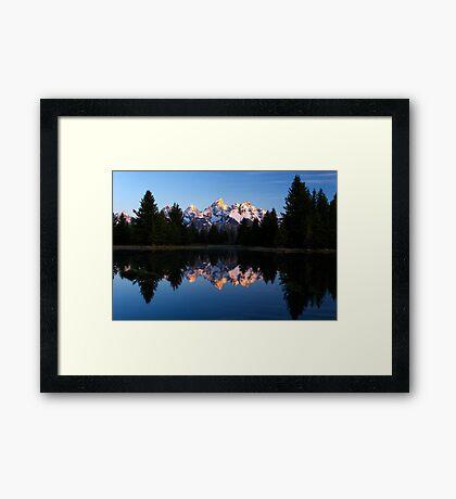 Tetons' First Light - Schwabacher Landing Framed Print