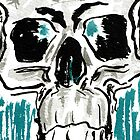 Learn -  4x6 color ink skull on watercolor by mwesselcreative