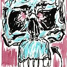 Fitted - 4x6 color ink skull on watercolor by mwesselcreative