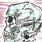 Chill - 4x6 color ink skull on watercolor by mwesselcreative
