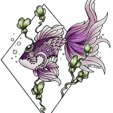 Pez púrpura del tatuaje de Redhead-K