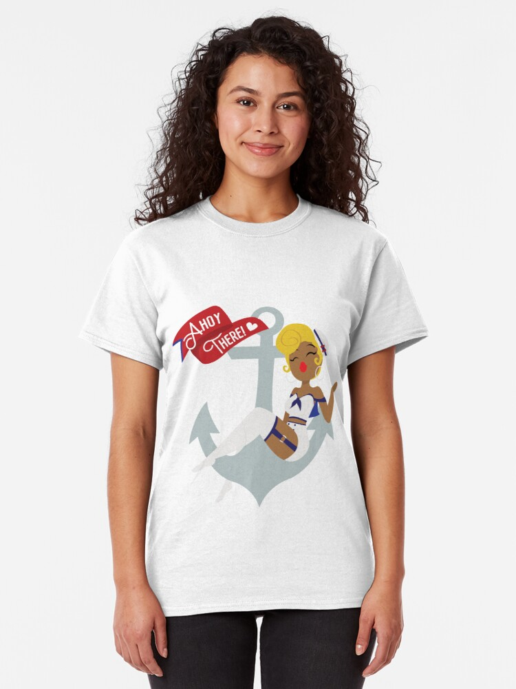 Alternate view of Ahoy There! Sailor Pin-Up  Classic T-Shirt