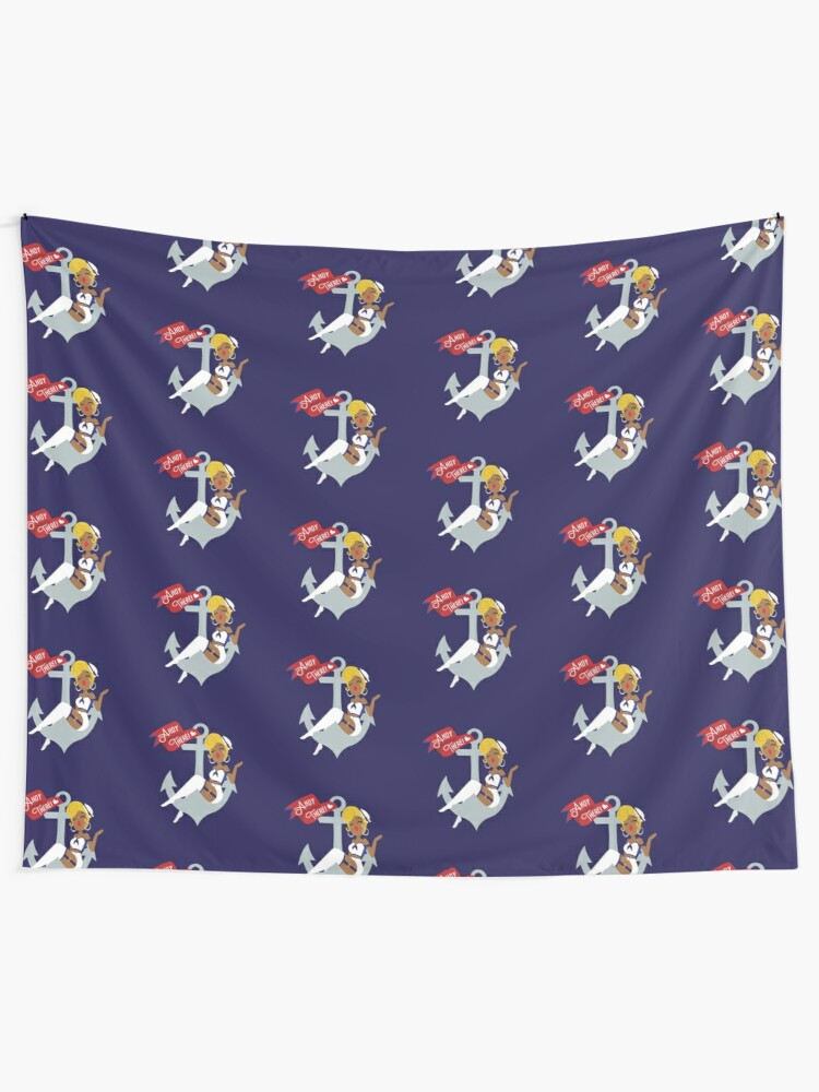Alternate view of Ahoy There! Sailor Pin-Up  Tapestry