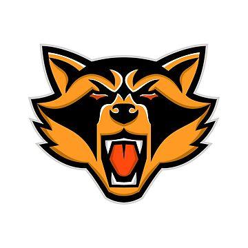 Angry Raccoon Head Mascot by patrimonio