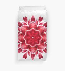 Red Watercolor Rose Petal Abstract Floral Mandala Duvet Cover
