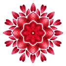 Red Watercolor Rose Petal Abstract Floral Mandala by Boriana Giormova