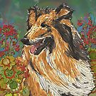 Rough Collie and Geraniums by lottibrown