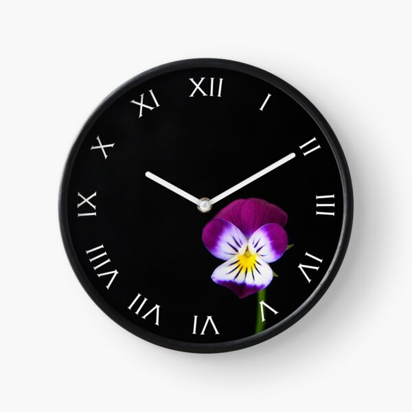 Violet Flower White Roman Numbers Wall Clock Clock