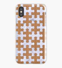 PUZZLE1 WHITE MARBLE & LIGHT MAPLE WOOD iPhone Case