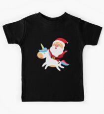 Santa Riding on Unicorn Kids Tee