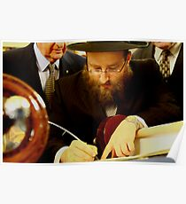 Final Hebrew Letter Being Inscribed in New Torah Poster