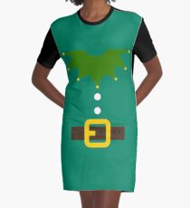Elf Elf Costume for Carnaval Christmas Halloween Party Graphic T-Shirt Dress