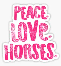 Horse Peace Love Horses Pink Equestrian Riders Gift Light Sticker