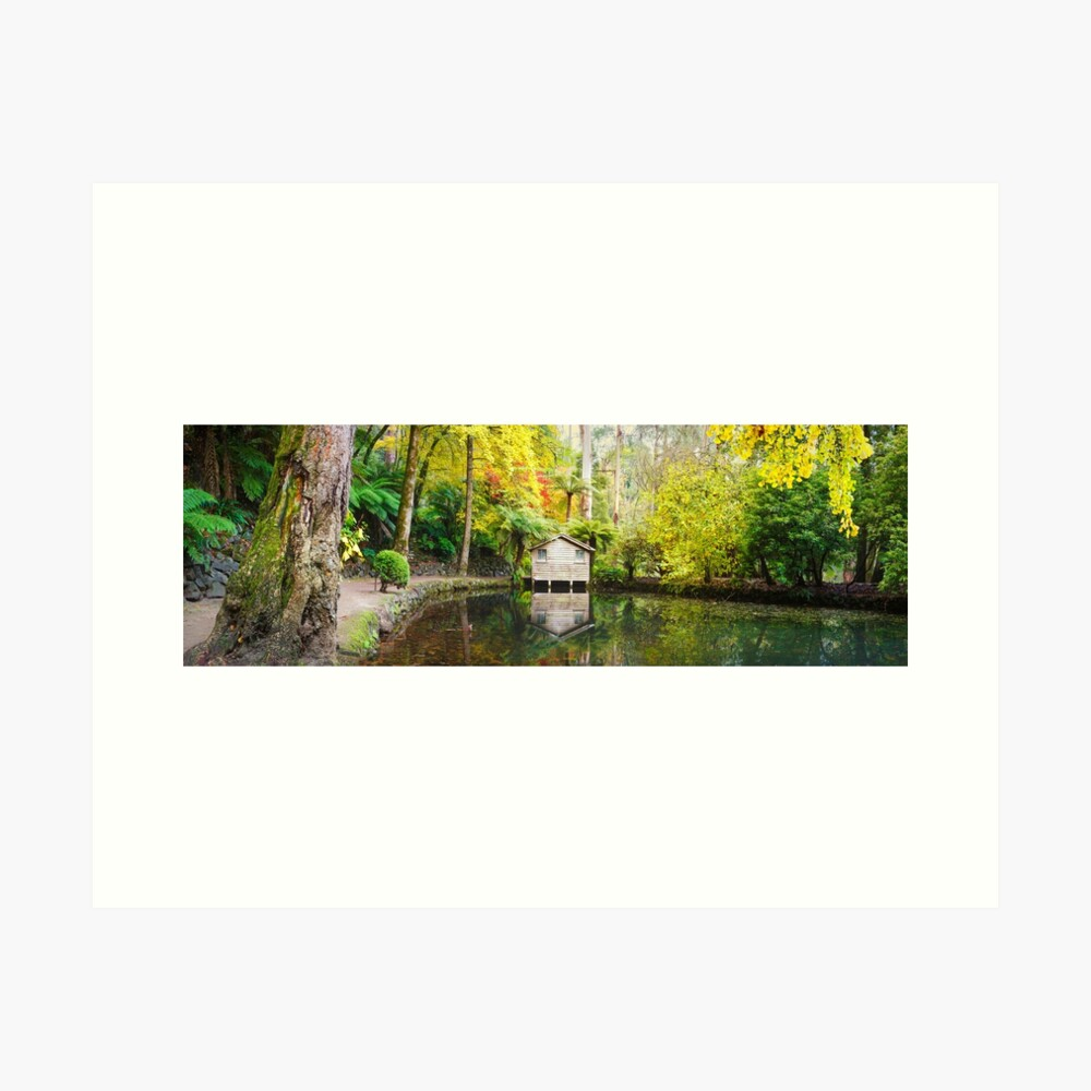 Boathouse in Autumn, Alfred Nicholas Gardens, Melbourne, Australia Art Print