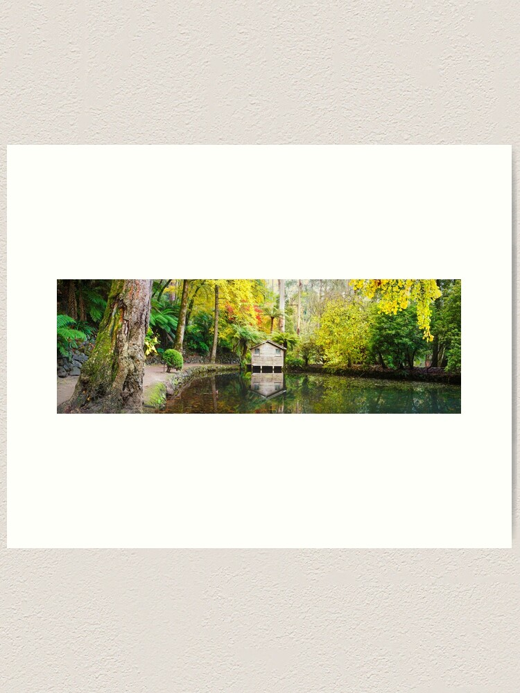 Alternate view of Boathouse in Autumn, Alfred Nicholas Gardens, Melbourne, Australia Art Print