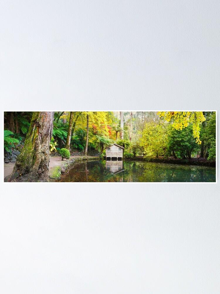 Alternate view of Boathouse in Autumn, Alfred Nicholas Gardens, Melbourne, Australia Poster