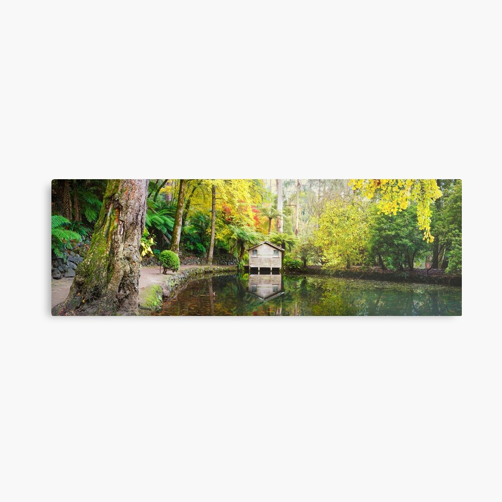 Boathouse in Autumn, Alfred Nicholas Gardens, Melbourne, Australia Metal Print