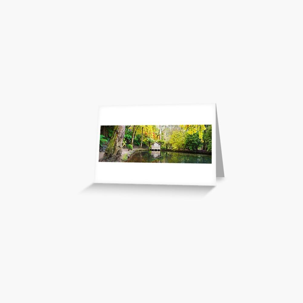 Boathouse in Autumn, Alfred Nicholas Gardens, Melbourne, Australia Greeting Card